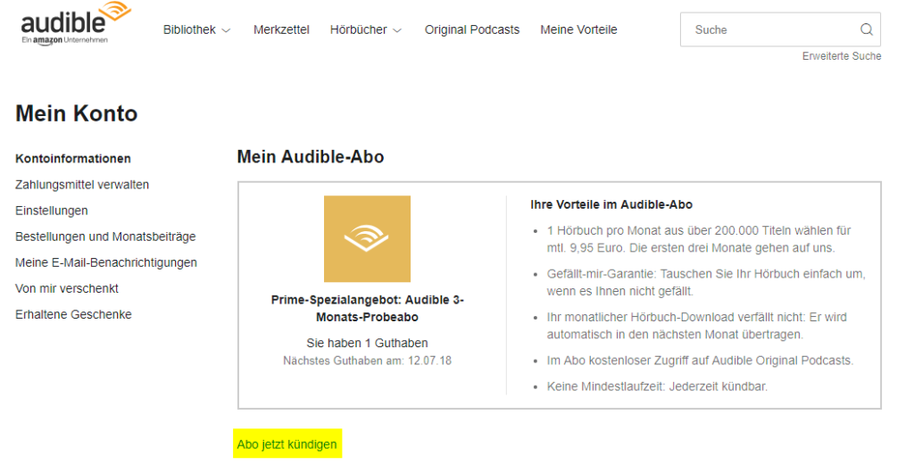 Audible kündigen