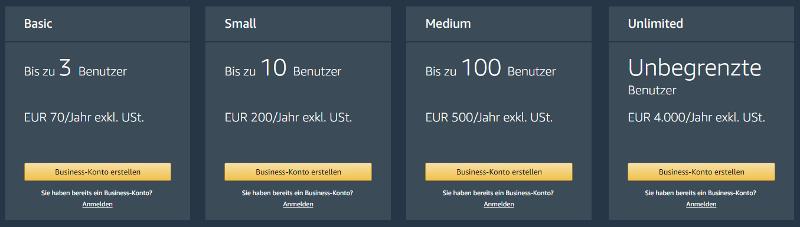 Kosten für Prime Business nach Anzahl der Benutzer