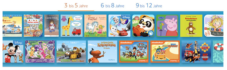Amazon FreeTime Marken und Figuren