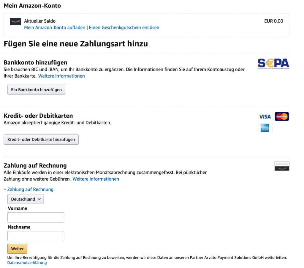Amazon Rechnungskauf