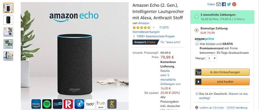 Ratenzahlung Amazon Echo