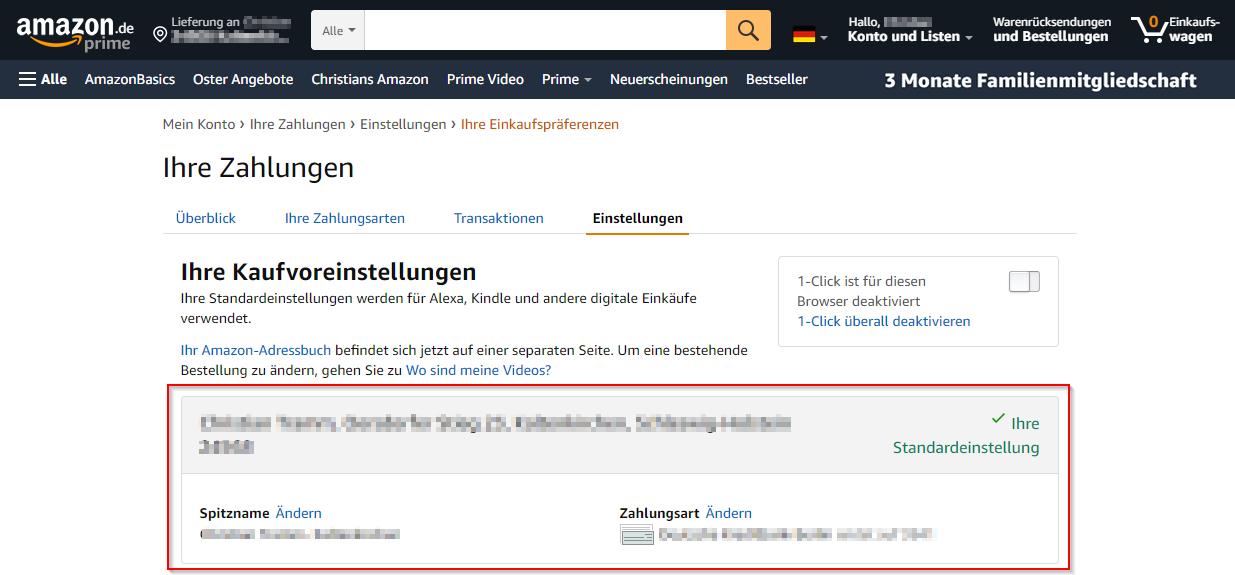 Amazon Jetzt kaufen 1 Click Einstellung anpassen