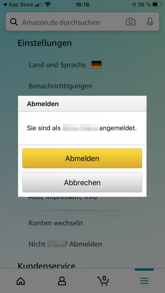 Bei Amazon abmelden