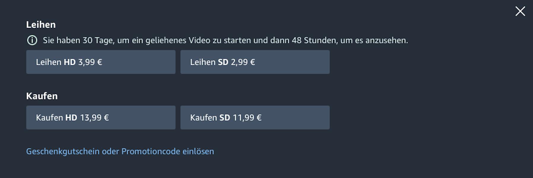 Filme kaufen und leihen bei Amazon Prime