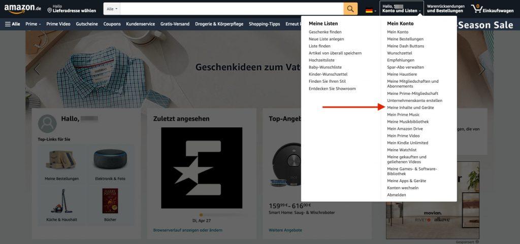Gerät Amazon App abmelden