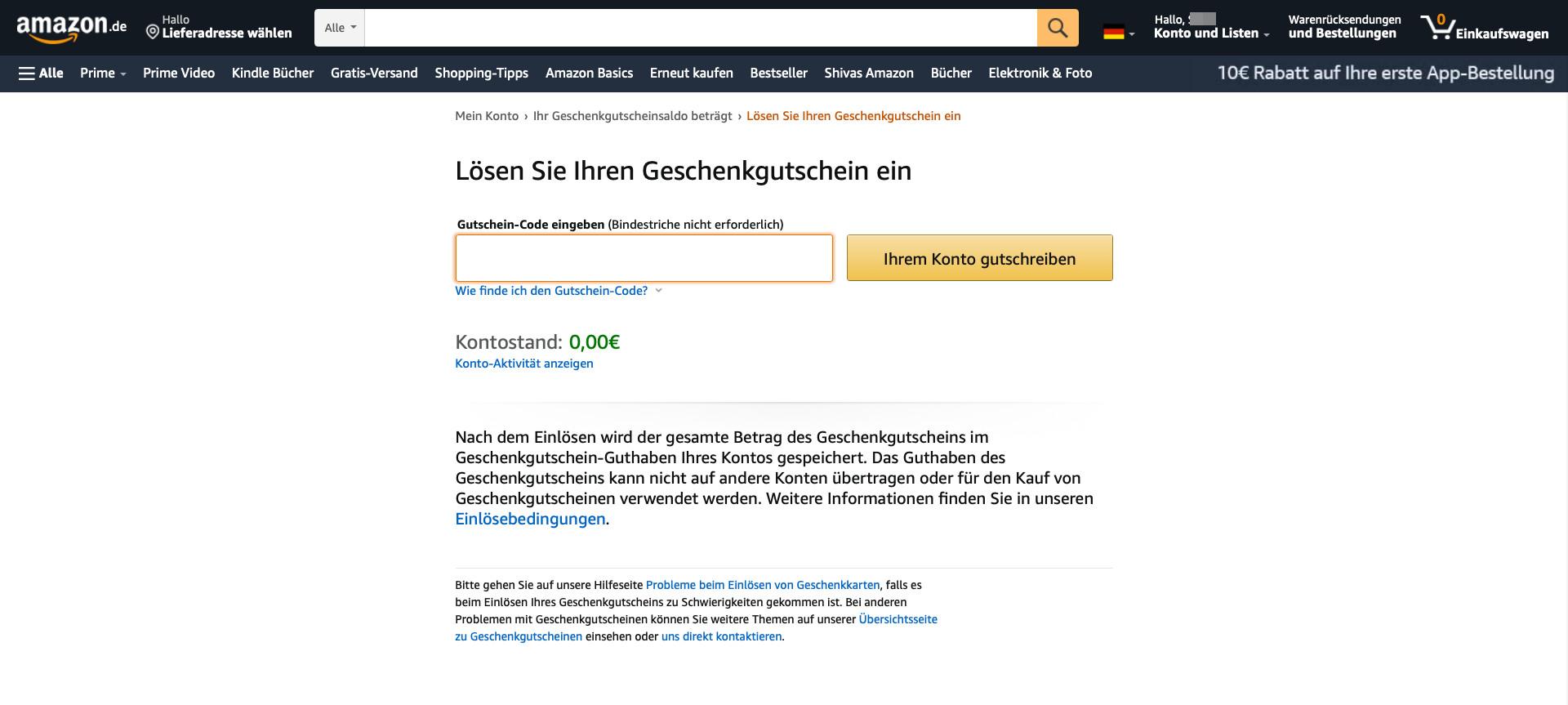 Amazon Gutscheine einlösen - so geht's
