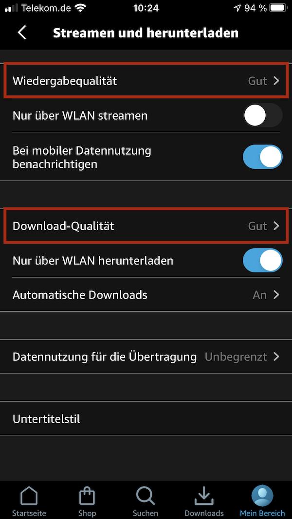 Streamingqualität App