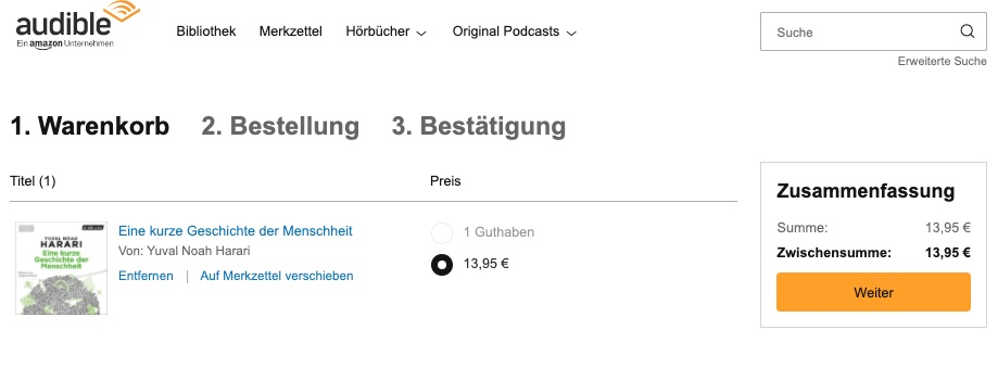 Audible Hörbuch ohne Abo kaufen